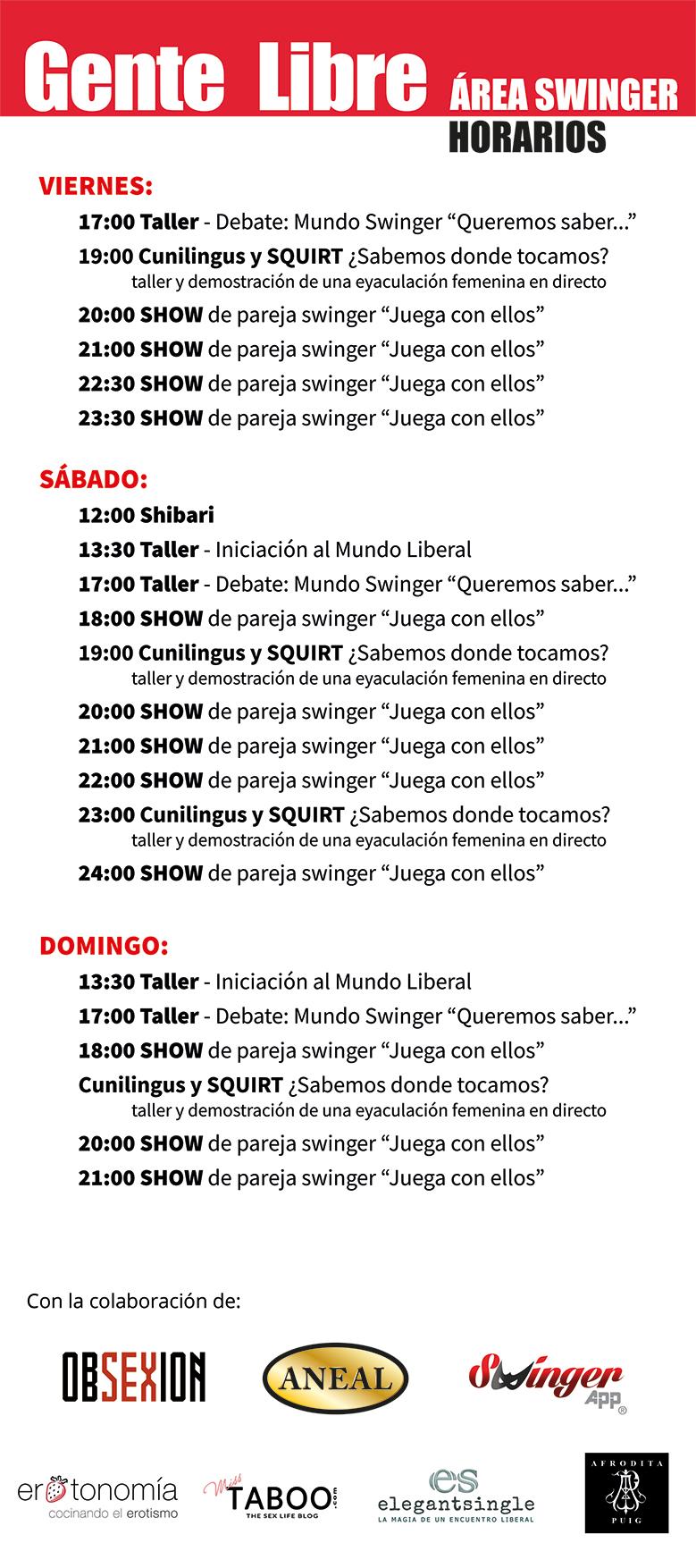 Horarios Área Swinger del Salón Erótico de Barcelona