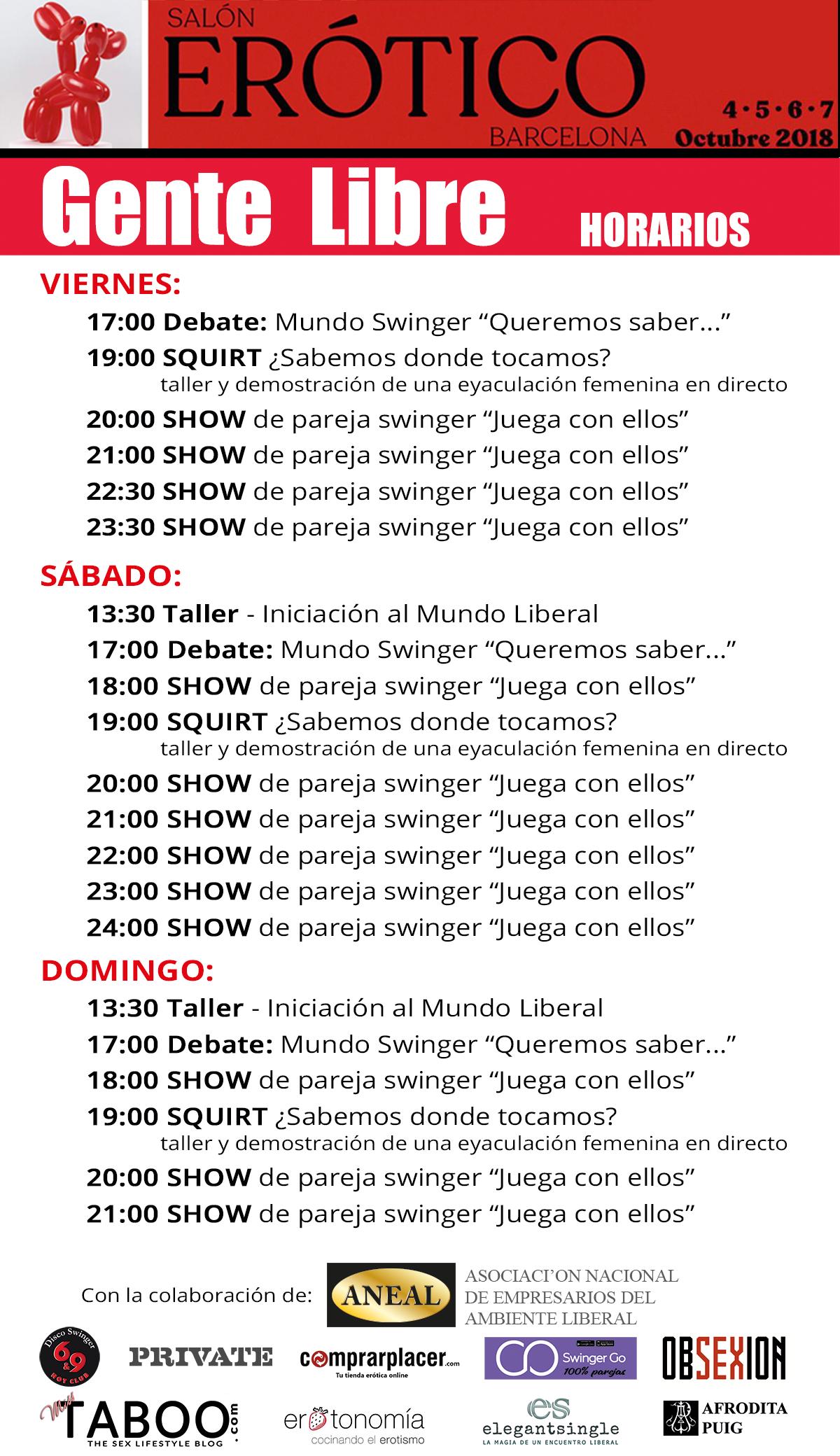 Horarios Gente Libre - Salón Erótico de Barcelona 2018