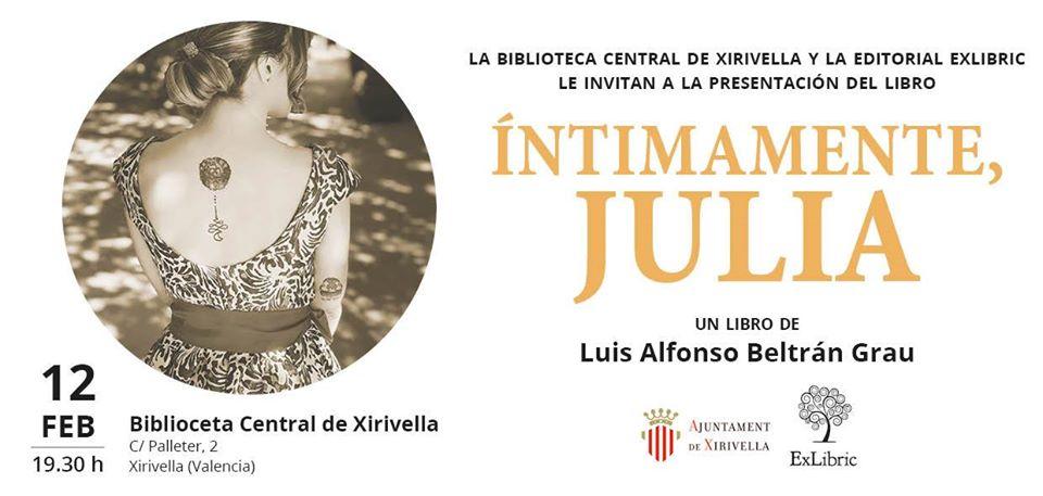 """Presentación de la novela erótica: """"ÍNTIMAMENTE, JULIA"""""""